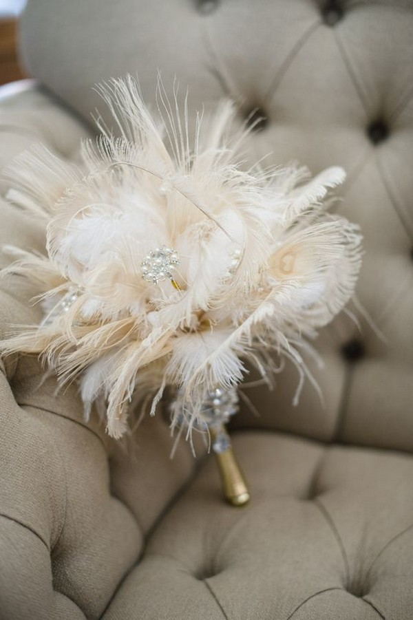 vintage feather wedding bouquet for Gatsby wedding