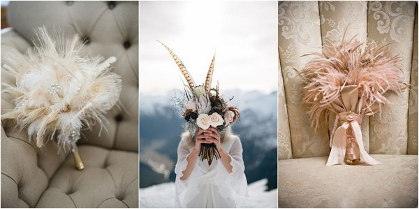 vintage feather wedding bouquet for Gatsby wedding_副本