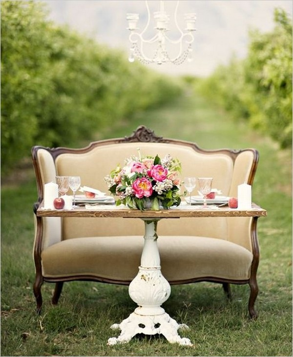 vintage inspired wedding sweetheart table decorations