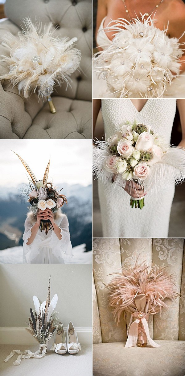 vintage wedding bouquet ideas with feathers