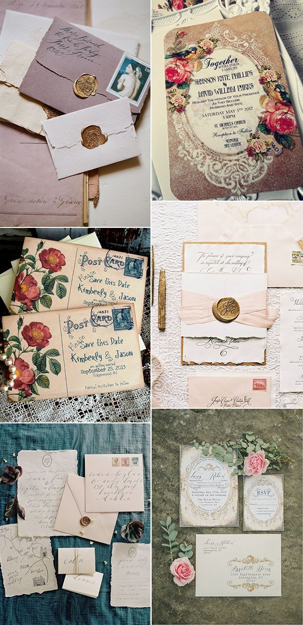 vintage wedding invitations for 2018 trends