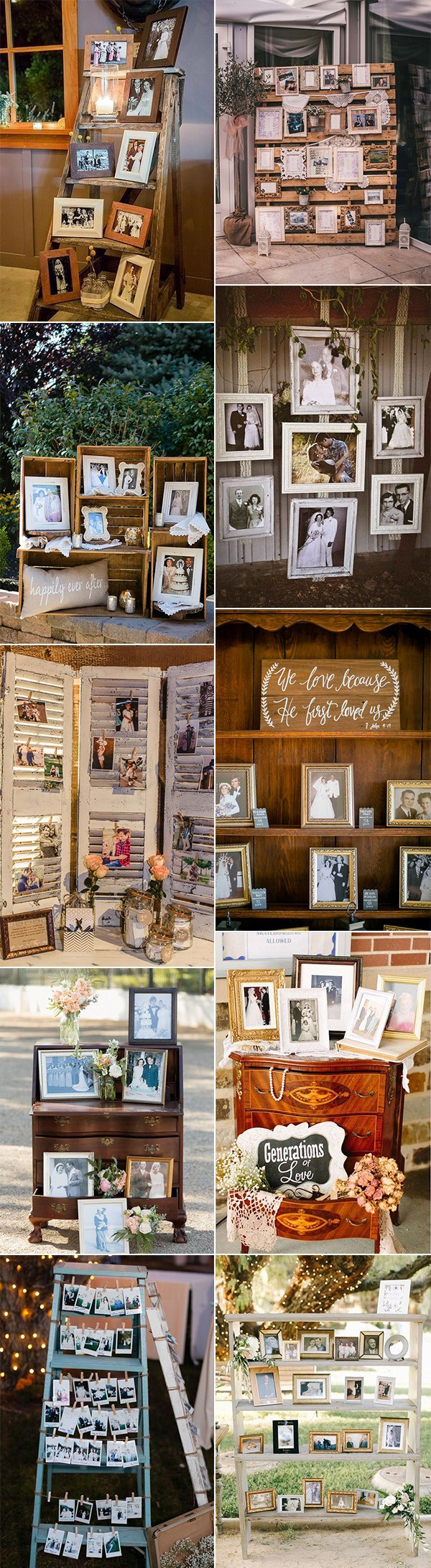 vintage wedding photo display ideas