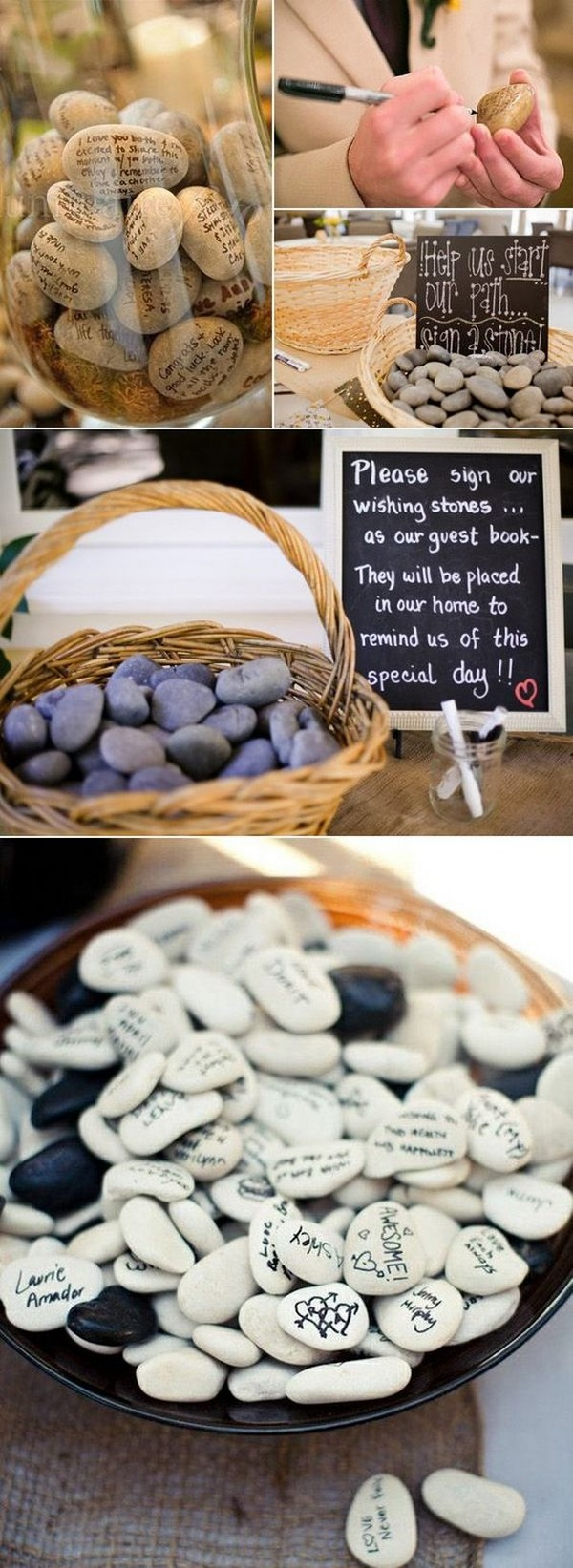 wishing stones wedding guest book ideas