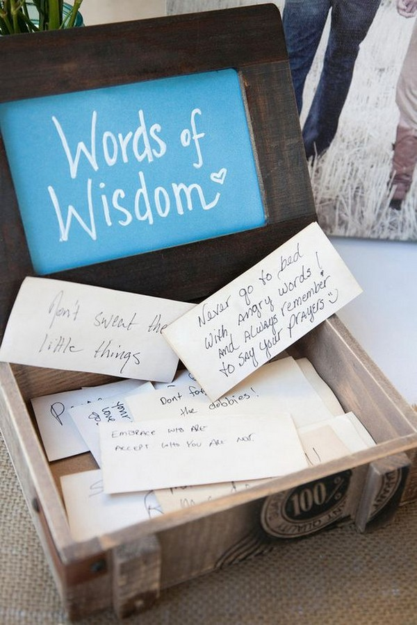 words of wisdom wedding guest book ideas