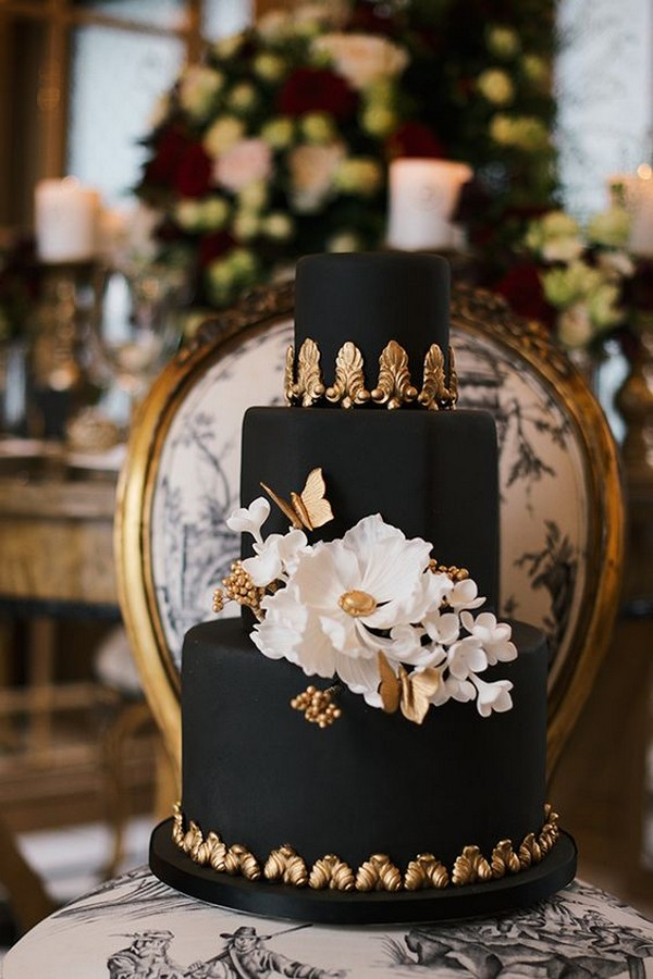 black gold and white chic wedding cake