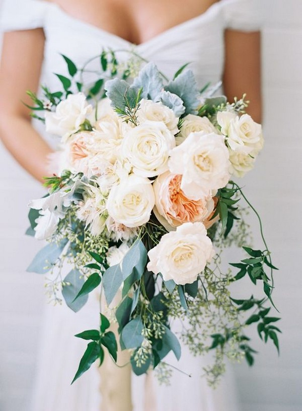 blush pink and peach roses wedding bouquet ideas with greenery