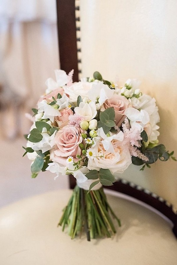 blush pink white and green wedding bouquet