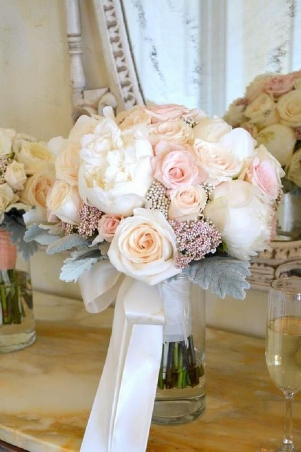 blush roses and ivory peonies wedding bouquet ideas