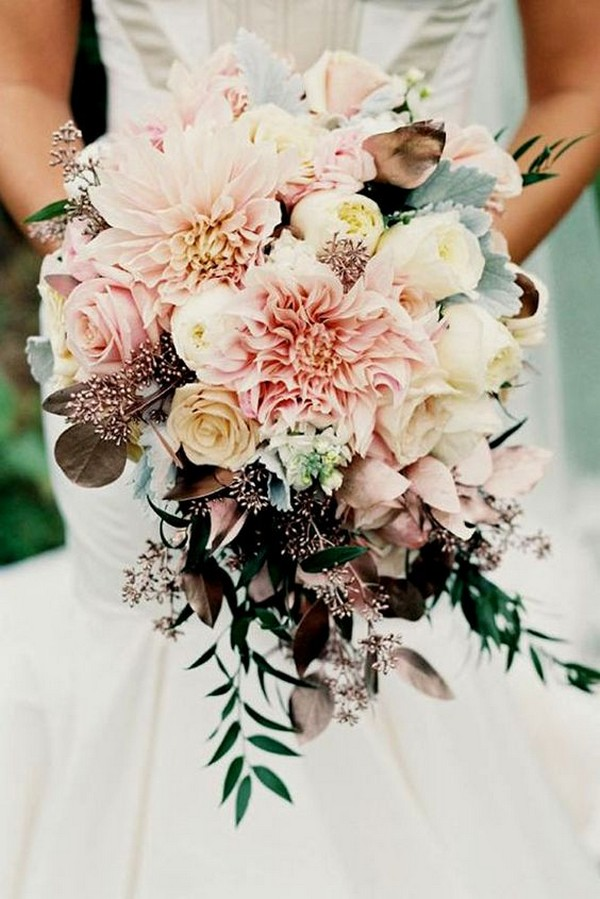 boho themed blush pink and marsala wedding bouquet ideas