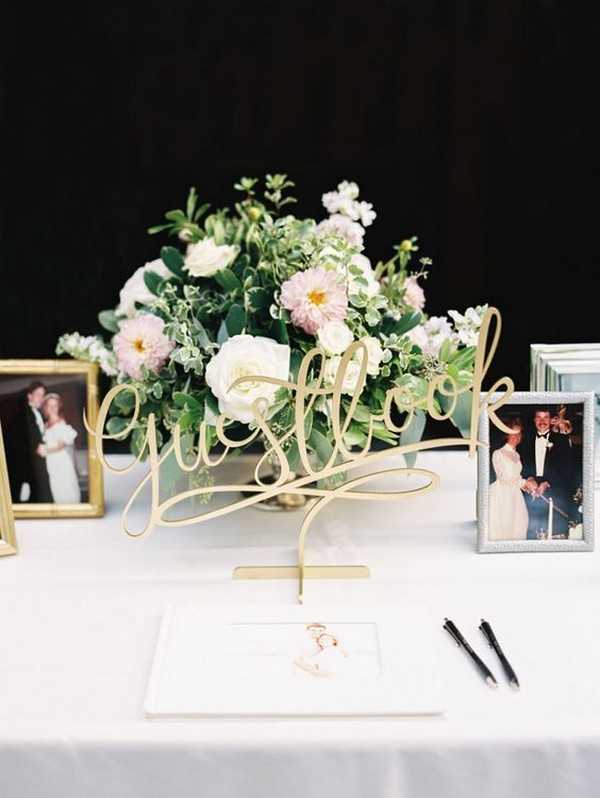 chic laser cut wedding guest book table ideas - EmmaLovesWeddings