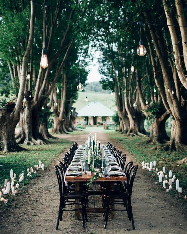 chic outdoor greenery wedding reception ideas