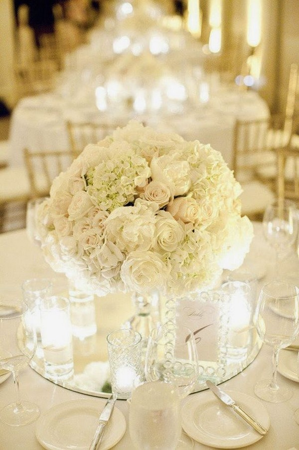 elegant all white wedding centerpiece ideas with candles