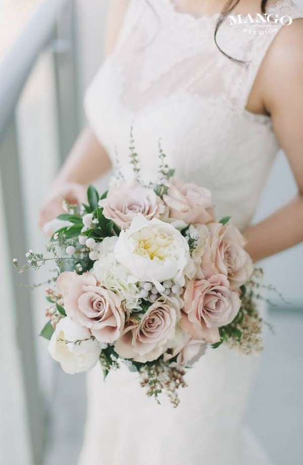 elegant blush pink wedding bouquet ideas for 2018
