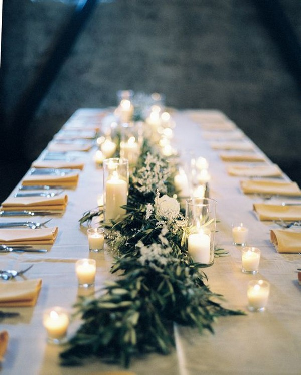 elegant greenery wedding centerpiece ideas with candles