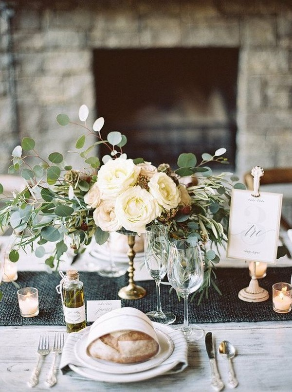 elegant wedding centerpiece with candles