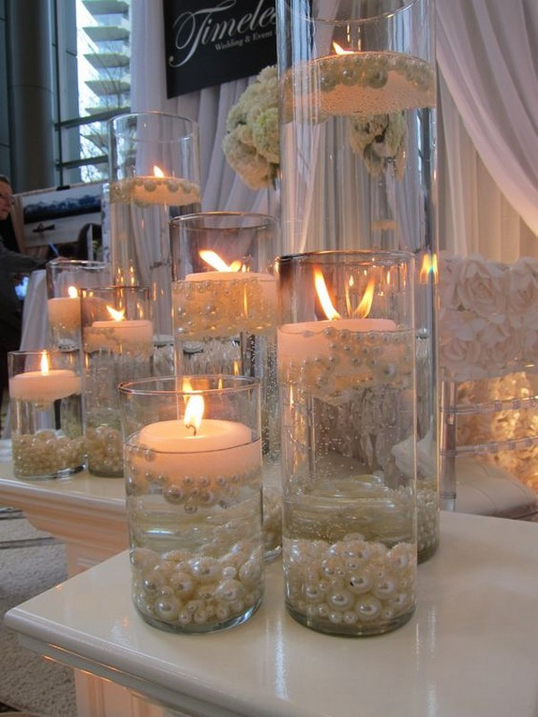 elegant wedding centerpieces with candles and pearls