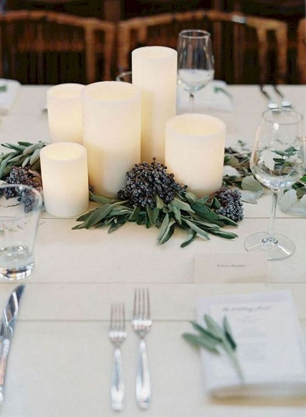 elegant winter wedding centerpiece with candles