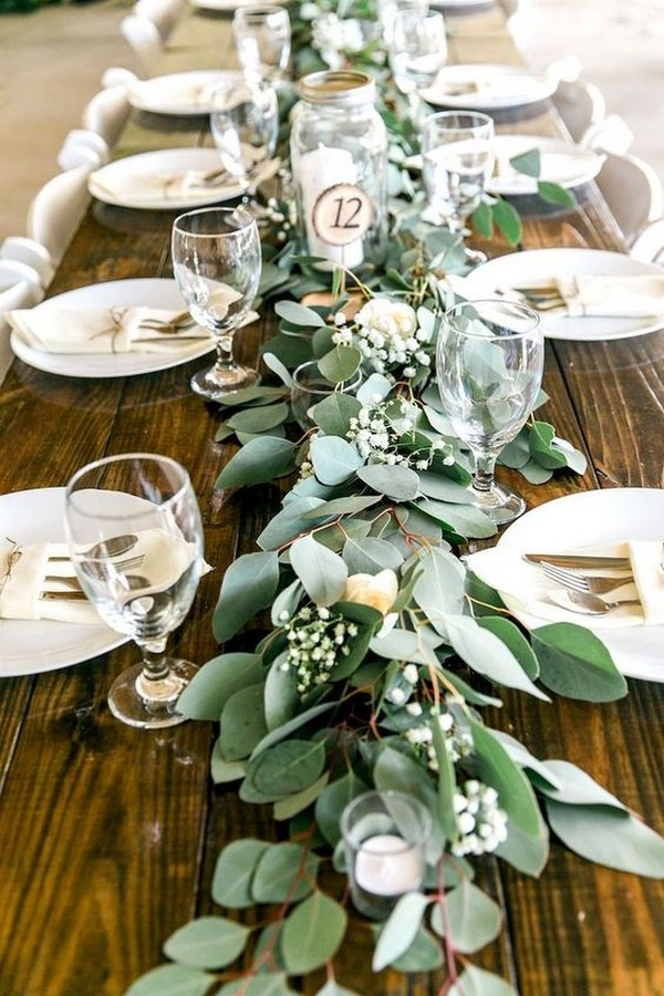 garland greenery wedding centerpiece ideas