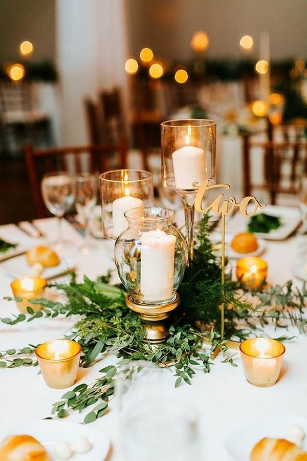 gold and green elegant wedding centerpiece ideas
