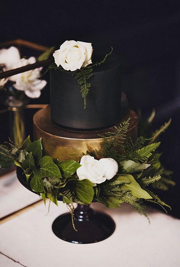 gold and matte black wedding cake