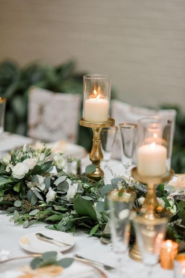 greenery wedding table runner centerpiece