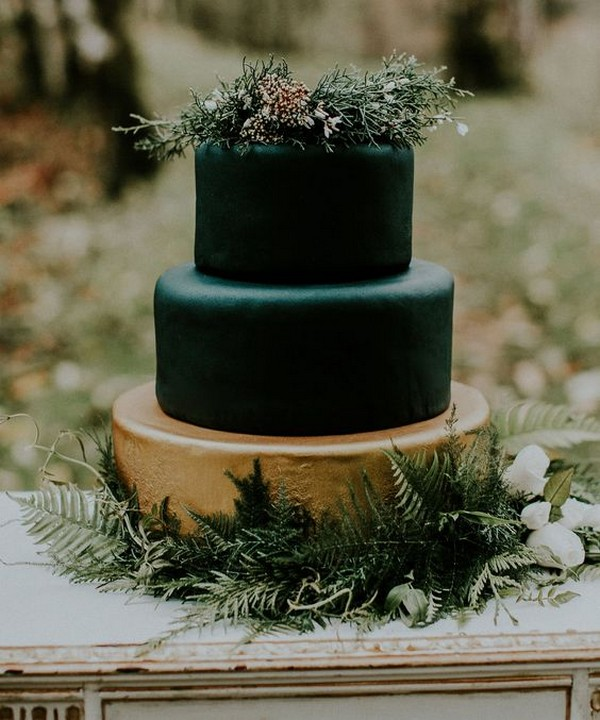 matte black and gold forest fondant wedding cake
