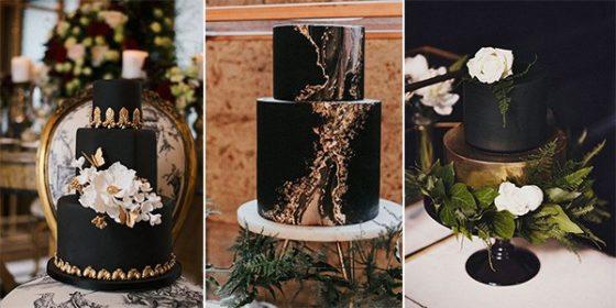 matte black wedding cakes