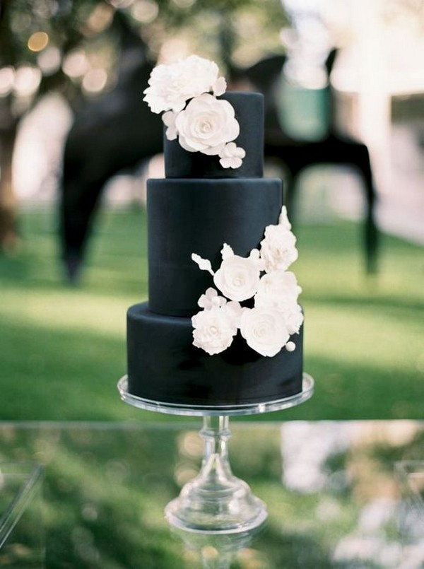 modern chic matte black and white wedding cake