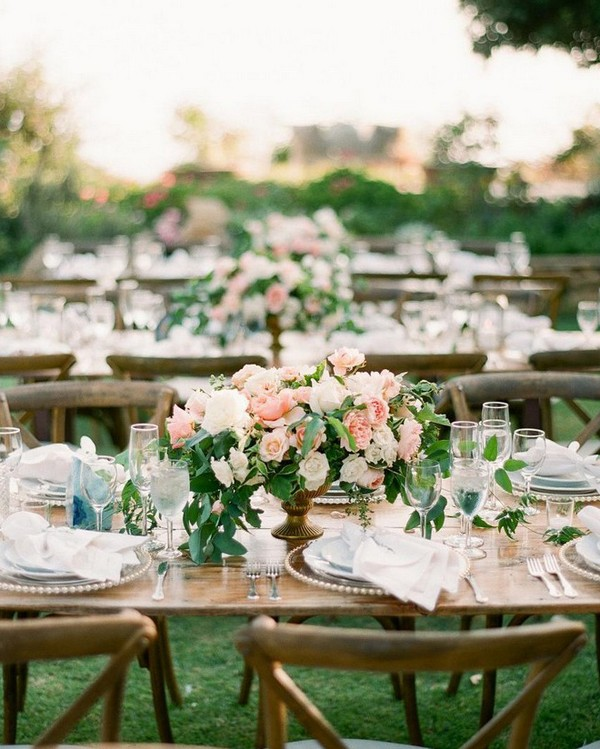 pink and greenery wedding centerpieces