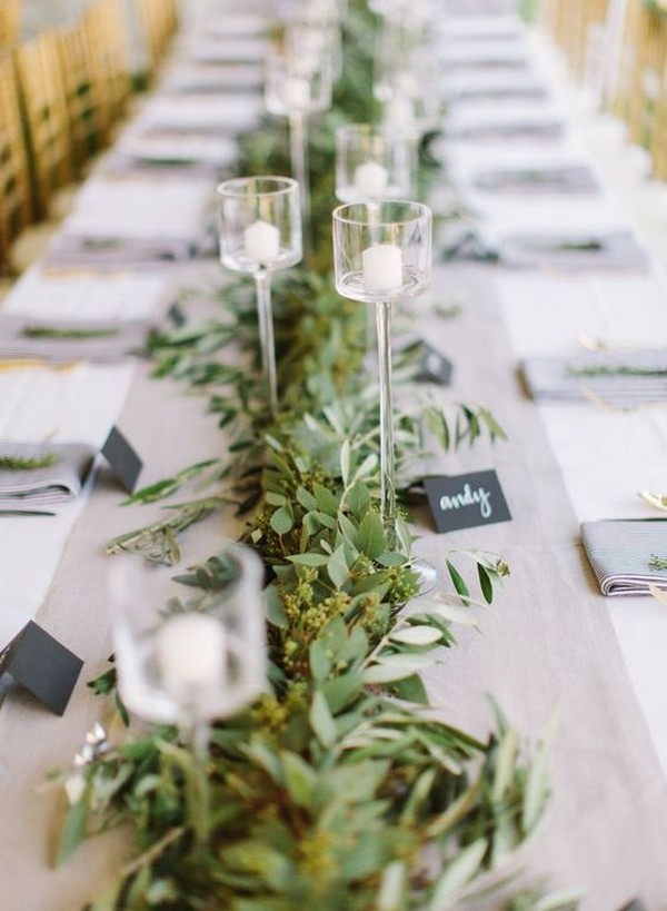 simple and elegant greenery wedding table runner ideas