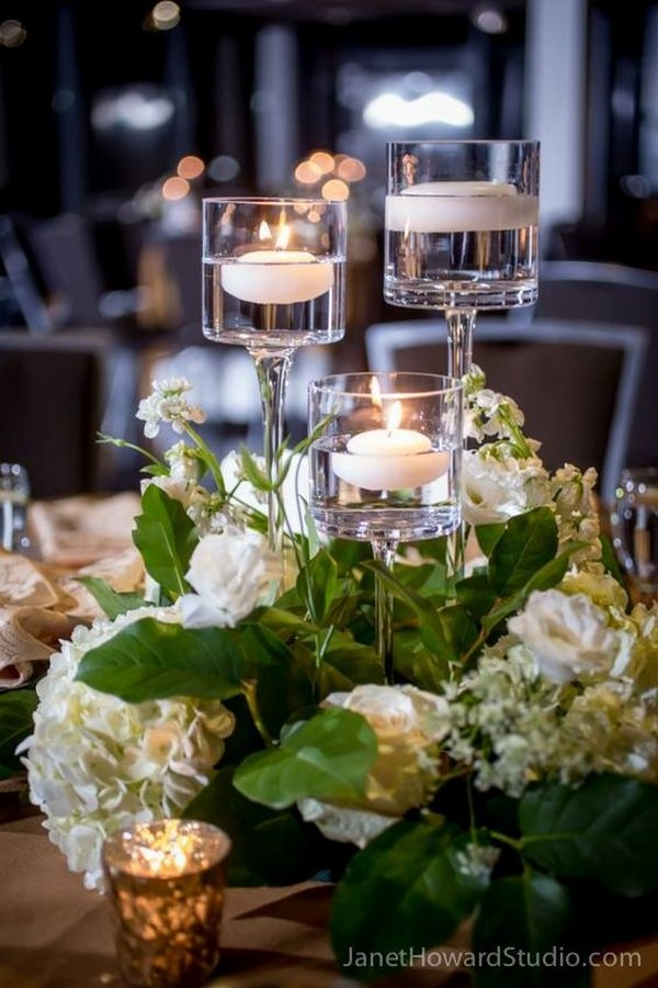 simple and elegant wedding centerpiece with candles