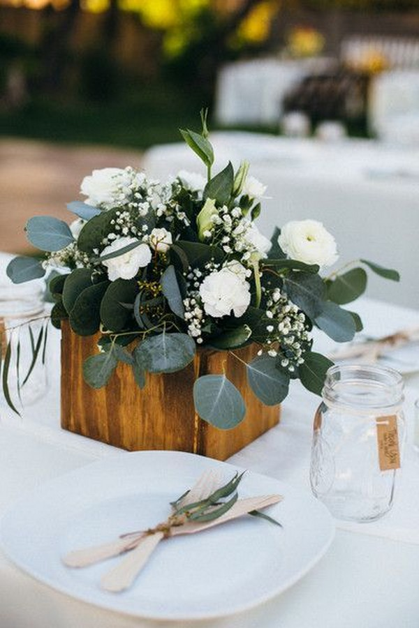 simple chic greenery wedding centerpiece ideas with wooden box