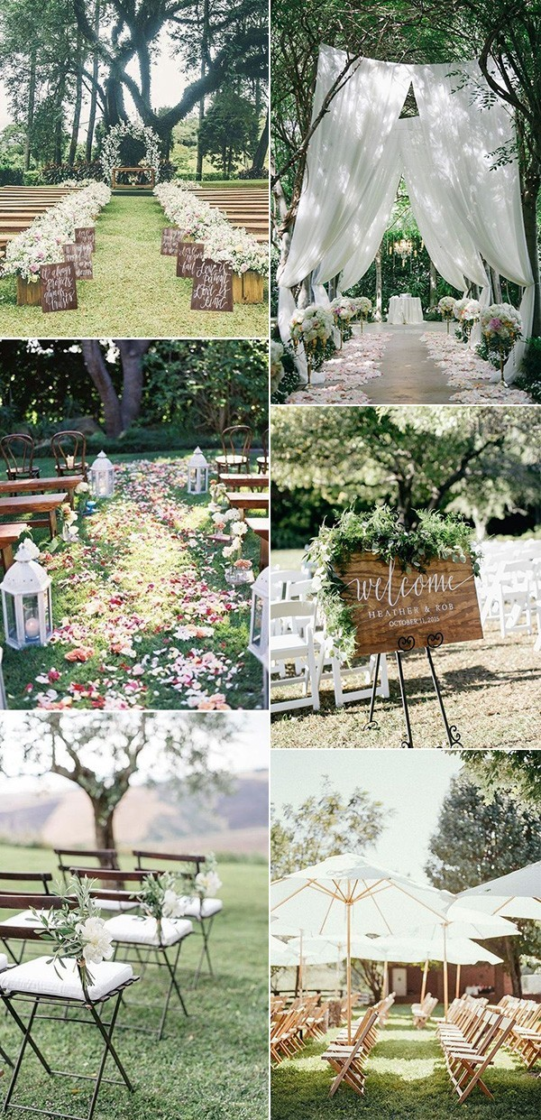35 brilliant outdoor wedding decoration ideas for 2018 for Backyard wedding ceremony decoration ideas