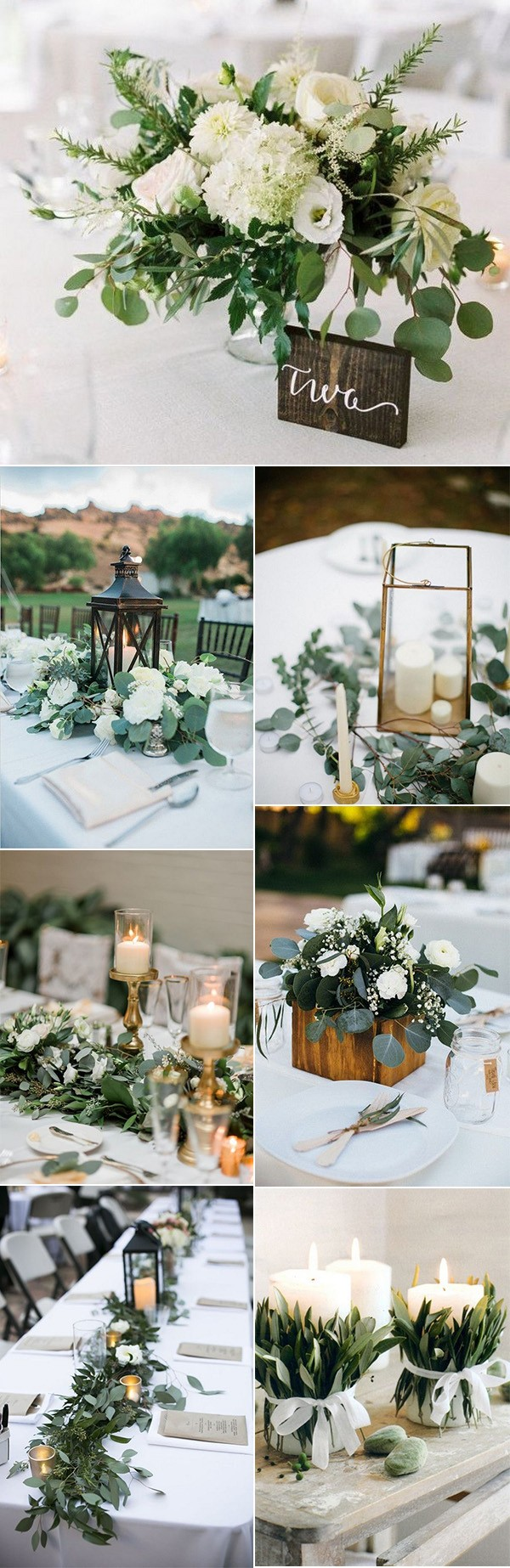 trending white and greenery chic wedding centerpieces