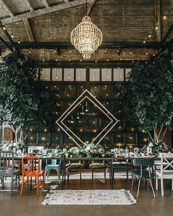 vintage industrial wedding reception ideas