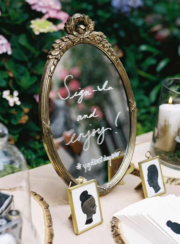 vintage wedding guest book and table ideas