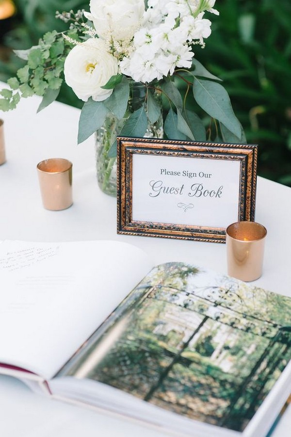 vintage wedding guest book table ideas
