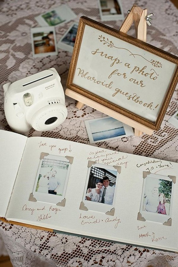 wedding guest book with Polaroid and table ideas