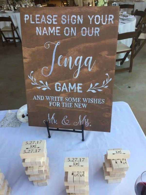 wedding jenga guest book sign in table ideas