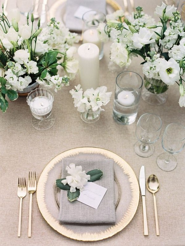 white and green elegant wedding centerpiece ideas