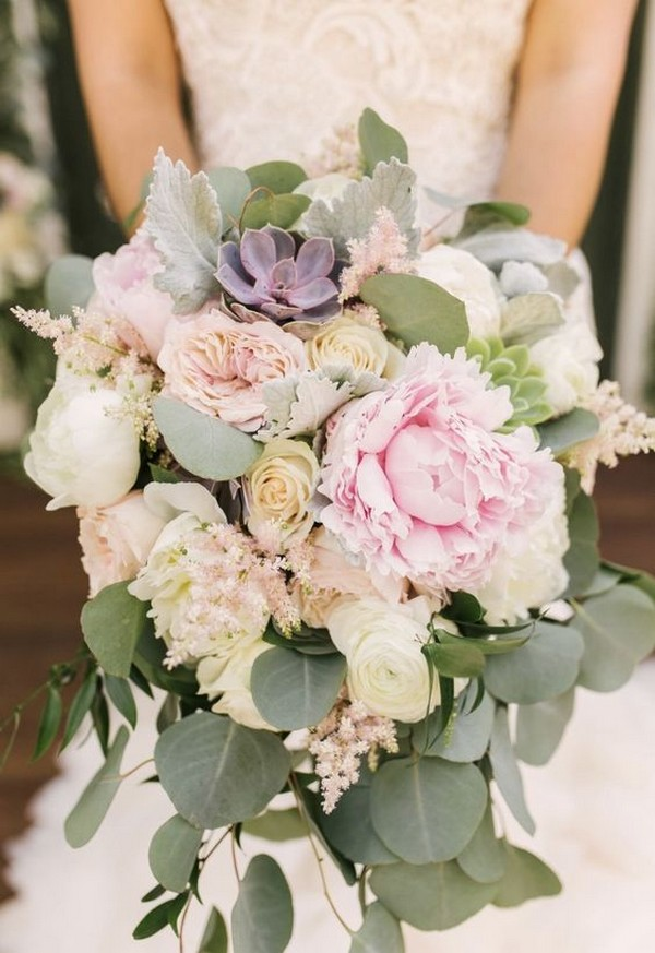 Peony and succulent wedding bouquet with blush and lavender