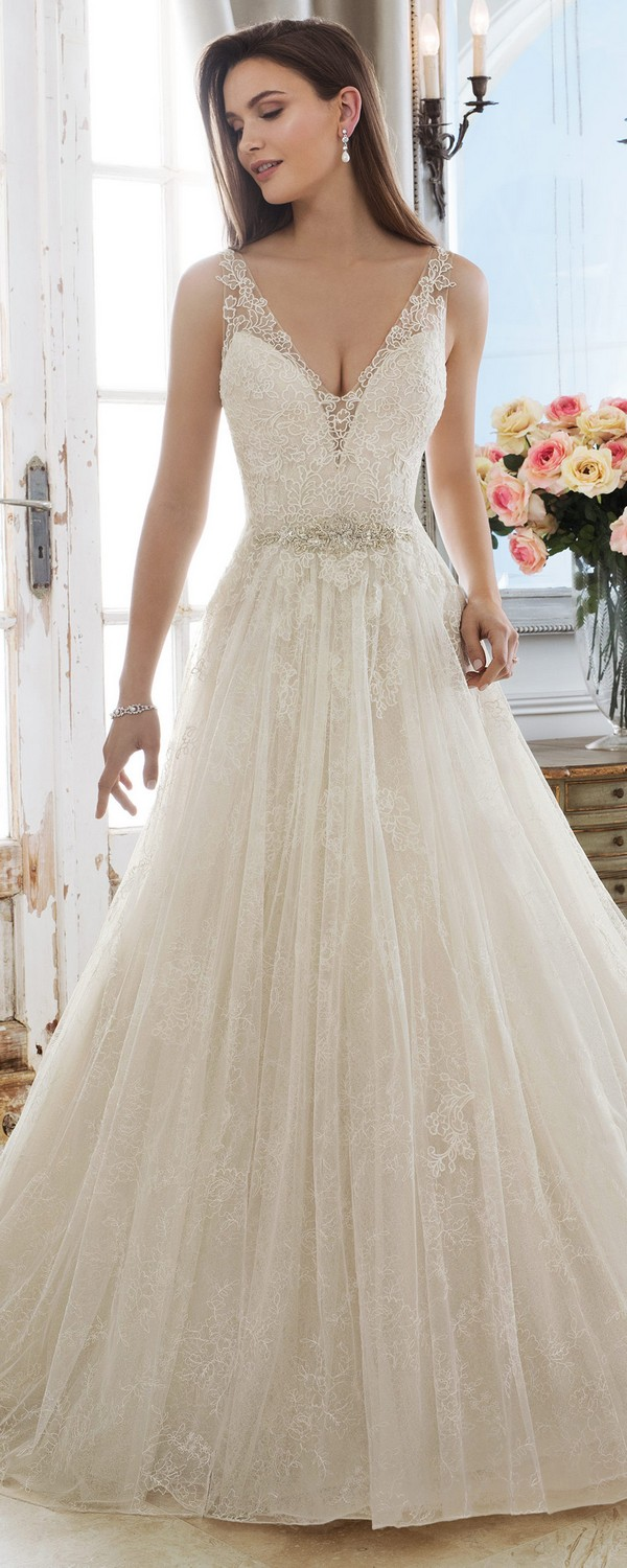 Sophia Tolli Demeter v neck wedding dress with lace straps