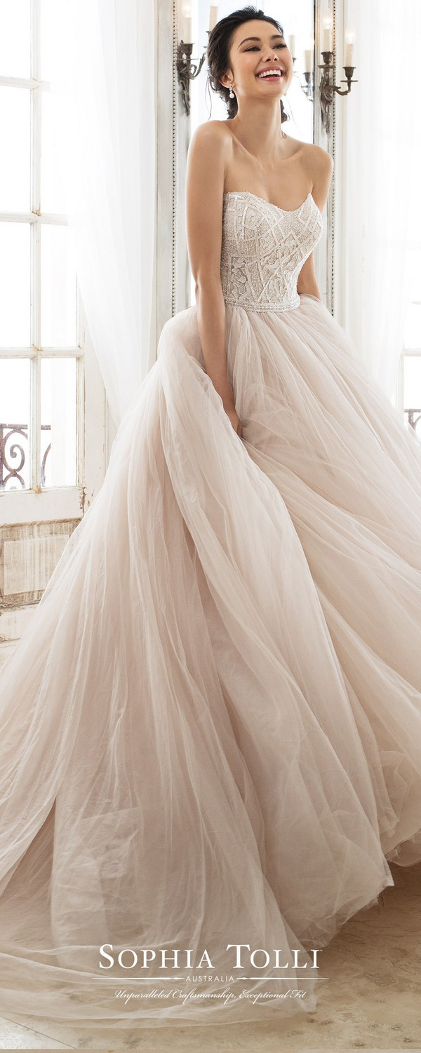 Sophia Tolli blush ball gown for 2018 trends