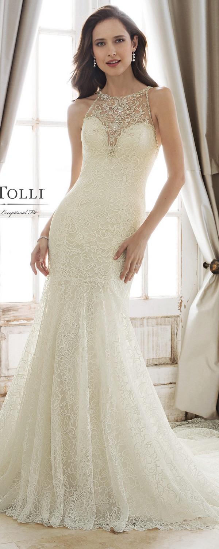 Sophia Tolli illusion halter neckline wedding dress