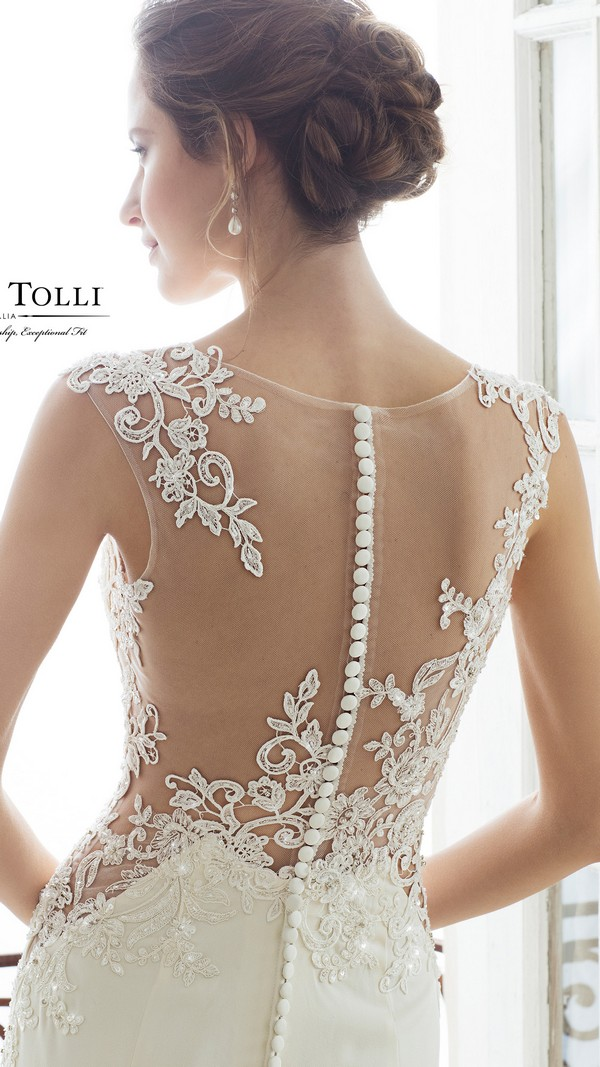 Sophia Tolli illusion lace neckline wedding dress back view