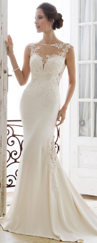 Sophia Tolli illusion lace neckline wedding dress