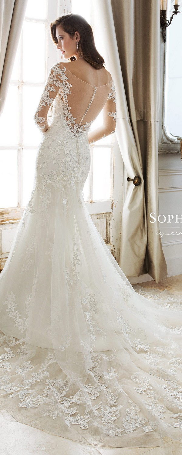 Sophia Tolli off the shoulder wedding gown with long lace sleeves back view