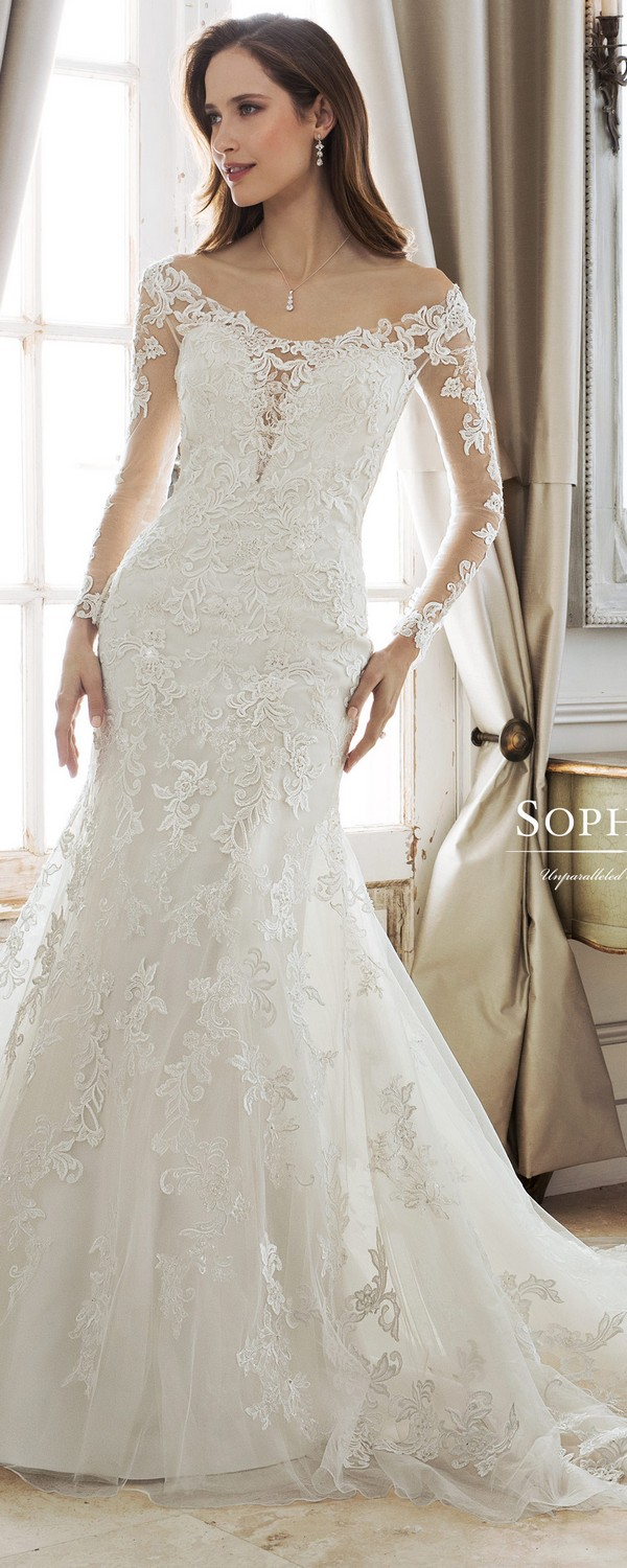 Sophia Tolli off the shoulder wedding gown with long lace sleeves