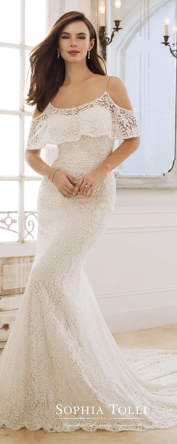 Sophia Tolli ruffled neckline lace wedding dress 2018 collection
