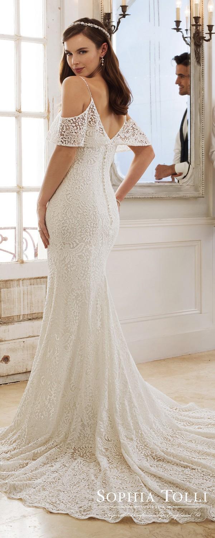Sophia Tolli ruffled neckline lace wedding dress back view